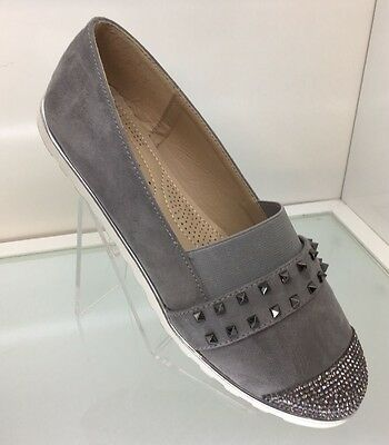 Ladies Womens Grey Suede Style  Loafers Pumps Plimsols Comfort Shoes Flat Size