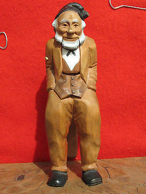 A1401 Vintage Hand Carved Wood Figural Nutcracker of An Old Man