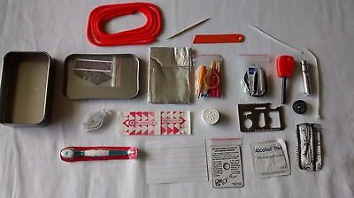 Mini Survival Kit in tin, scouting, bushcraft, camping, hiking Over 35 items!!