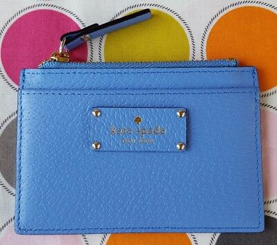New Kate Spade Adi Grove Street Leather Card & Coin Case Wallet in Alice Blue.