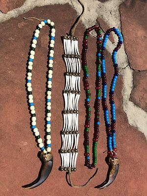 Three Beaded Necklaces with Grisly Claws and Dentalia Choker