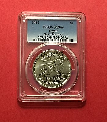 Egypt- Silver 1981 ,1 Pound ,( Scientists Day ),certified By Pcgs Ms-64.