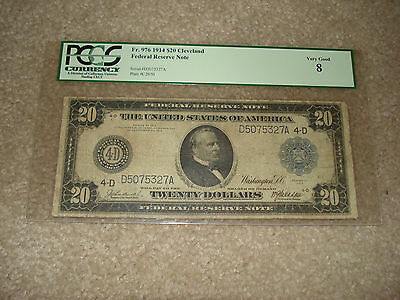 1914 20$ Federal Reserve Note, Pcgs Graded Very Good 8    #1-14