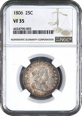 1806 Draped Bust Early Silver Quarter 25C - NGC VF35 -