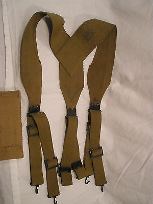 RARE 1914 USMC MILLS No 202 Y CARTRIDGE BELT SUSPENDERS Olive Drab OD