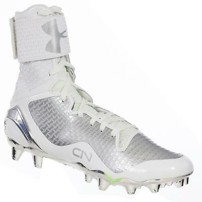 Under Armour Men's Cam Newton Football Cleats C1N Mc White Silver 8 M