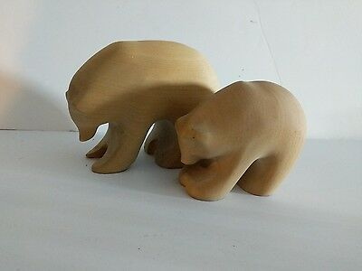 Pair of Penna Polar Bears. Carved birch mother and cub.