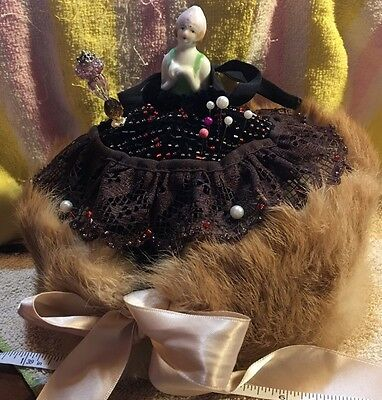 Pin cushion Doll Handmade Dress For Doll (without doll) Real  Fur
