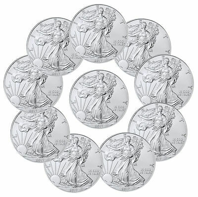 SET: 2008 thru 2017 (10 coins) 1 oz. American Silver Eagles, BU w/ No Marks!