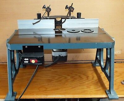 "Cast Iron Router Table with 1 1/2 HP Router 20"" x 27"", 110 LB Supper Stable Bed"