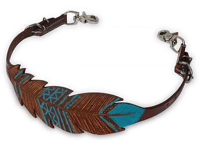Showman Cut Out Hand Painted TEAL Feather Wither Strap! NEW HORSE TACK!