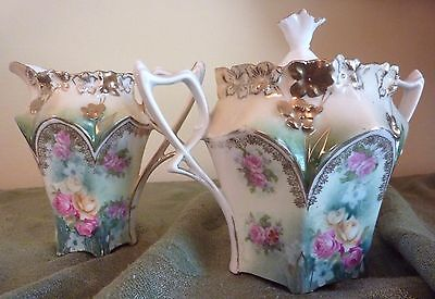 RSP Prussia Cream Pitcher Sugar Bowl Set Floral Four Seasons Mold Pink Roses