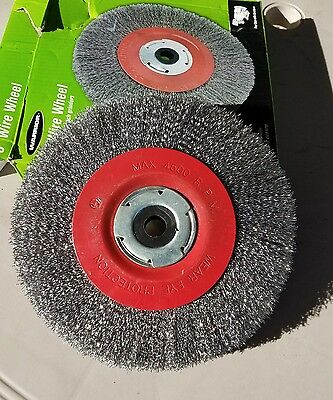 """8"""" Wire Wheel to quickly remove rust corrosion paint 1"""" arbor with 5/8 adapter"""