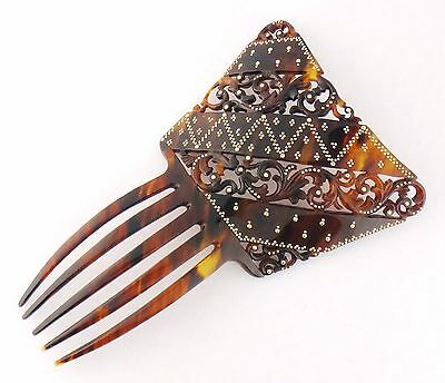 Antique Victorian Natural Tortoiise and 14K Gold Ornate XL Hair Comb