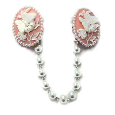 Pink and White Butterfly Cameo Sweater Clip