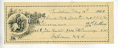 West – Arizona Territory – Tombstone-  1904 Receipts – Lot Of (2)