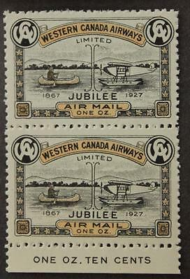 #CL41 MNH OG, Showpiece Pair With Insciption, Western Canada Airways