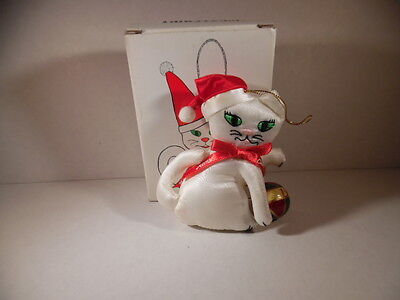 Fancy Feast Christmas 1992 Cat Playing with Ball Ornament - Original Box