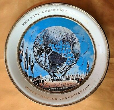 New York Worlds Fair 1964 1965 Unisphere Metal Decorative Plate tin souvenir *