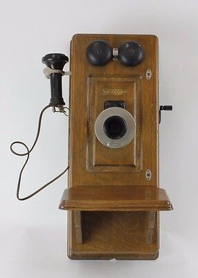 Western Electric Antique Oak Wall Hung Telephone /Wall