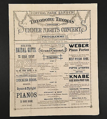 July 31, 1874 Koch's CENTRAL PARK GARDEN NYC Programme THEODORE THOMAS ORCHESTRA