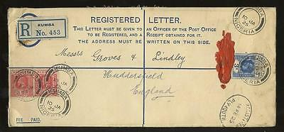 NIGERIA REGISTERED STATIONERY 1925 +2d KUMBA to GB..OVALS BUEA VICTORIA PLYMOUTH