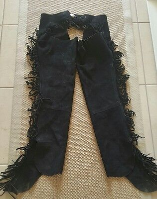 Women's Large BLACK SUEDE REAL LEATHER WESTERN HORSE SADDLE SHOW CHAPS
