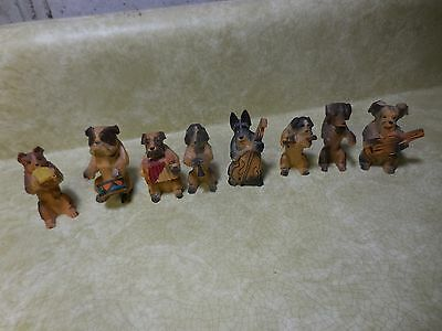 Set of 8 Vintage Carved Wooden Dogs Playing Instruments Dog Orchestra