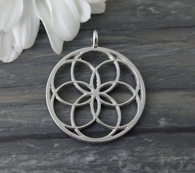 Seed of Life Pendant 1pc Silver Tone Sacred Geometry Jewelry Supply CH263