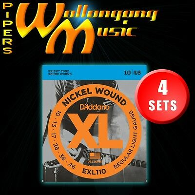 4-sets: D'Addario EXL110 10-46 Regular Light Electric Guitar Strings Set 10/46