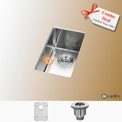 """Perfect size 11"""" Kitchen Bar Sink Small Radius Stainless Steel with Free Grid"""