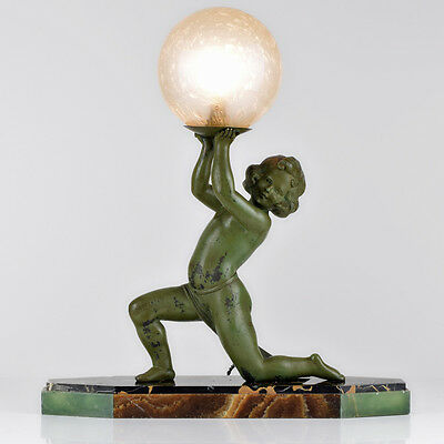 Rare Large 1930s French Art Deco Putti Spelter Sculpture Table Lamp by GEO MAXIM