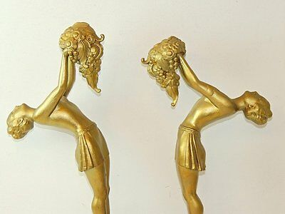 Pair of French Art Deco MOLINS-BALLESTE figural sculpture on marble bases 1930