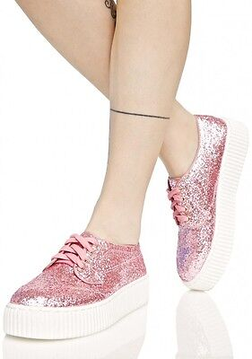 Shellys London Dollskill Pink Sparkly Sneakers