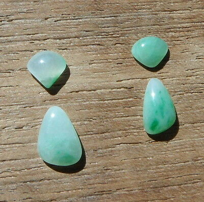 Green Jade with White, White Jade with Green. 4 Stone Tear Drop Earring Set.