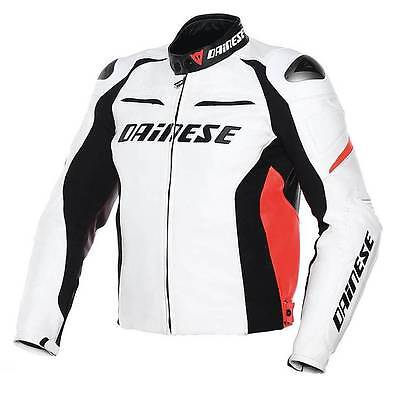 Dainese Racing D1 Pelle Perf. Leather Jacket White Black Red Size Eu 56 Us 46