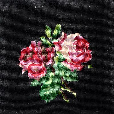 "Beautiful vintage needlepoint -- Little Roses    9"" x 9"""