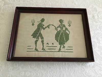 Framed Antique Original Cross Stitch Needlepoint Figures On Linen