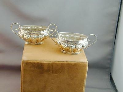 Pair Antique Sterling Open Salt Dishes Cellar Walker & Hall Sheffield ORNATE