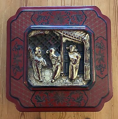 Antique Oriental Chinese Export Lacquer Covered Tea Caddy Gaming Box