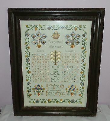 Vintage Cross Stitch/needlepoint Sampler - Perpetual Almanack Antique Frame