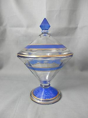 Pressed Clear Glass Lidded Compote w Blue and Gold Accent Bands - Rare