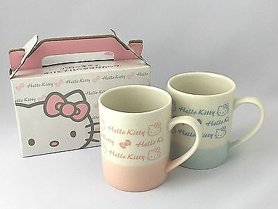 Sanrio Hello Kitty Mug Cup Coffee Tea Pair Set Pink Blue Ceramic From Japan