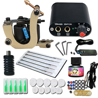 Complete Tattoo Kit needle Machine Guns Power Supply USA Color Ink MGT-18GD-13 e