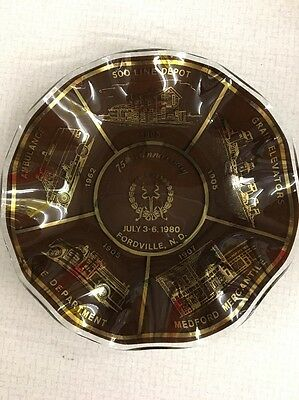 Fordville ND 75th anniversary 1980 ashtray plate Soo Line Depot Fire Dept