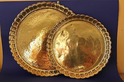 Antique Middle Eastern, Islamic Script  Brass trays, Pair of.