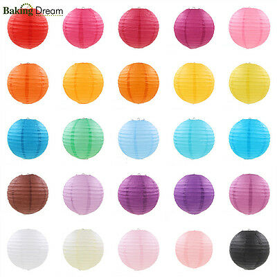 "1/5Pcs 6""8""10""12""14"" Round Chinese Paper Lantern Lamp Wedding Party Decoration"