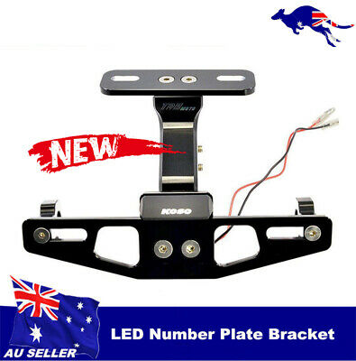 Motorcycle Adjustable Alloy License Number Plate Holder Bracket w' LED Light  AU