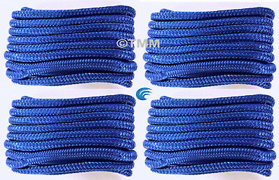 "(4) Blue Double Braided 1/2"" x 15' HQ Boat Marine DOCK LINES Mooring Rope Cord"