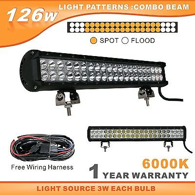 126W Led Light Bar 20inch Cree Beam for Off Road UTE Free Wiring Kit 12/24V Ip68